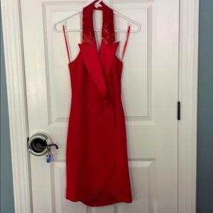 Red Tuxedo Halter Dress w/Beaded Lapel Size 4